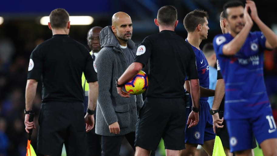 LONDON, ENGLAND - DECEMBER 08:  Josep Guardiola, Manager of Manchester City stares at referee Michael Oliver after the Premier League match between Chelsea FC and Manchester City at Stamford Bridge on December 8, 2018 in London, United Kingdom.  (Photo by Clive Rose/Getty Images)