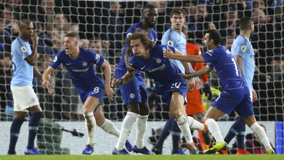 LONDON, ENGLAND - DECEMBER 08: David Luiz of Chelsea celebrates with his team mates after scoring a goal to make it 2-0 during the Premier League match between Chelsea FC and Manchester City at Stamford Bridge on December 8, 2018 in London, United Kingdom. (Photo by James Baylis - AMA/Getty Images)