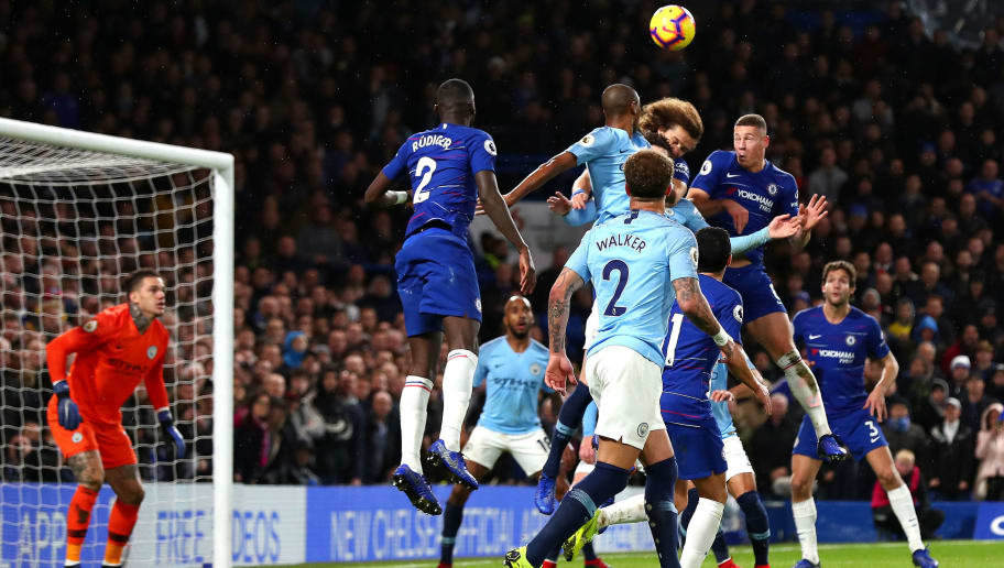 LONDON, ENGLAND - DECEMBER 08: David Luiz of Chelsea scores his team's second goal during the Premier League match between Chelsea FC and Manchester City at Stamford Bridge on December 8, 2018 in London, United Kingdom.  (Photo by Clive Rose/Getty Images)
