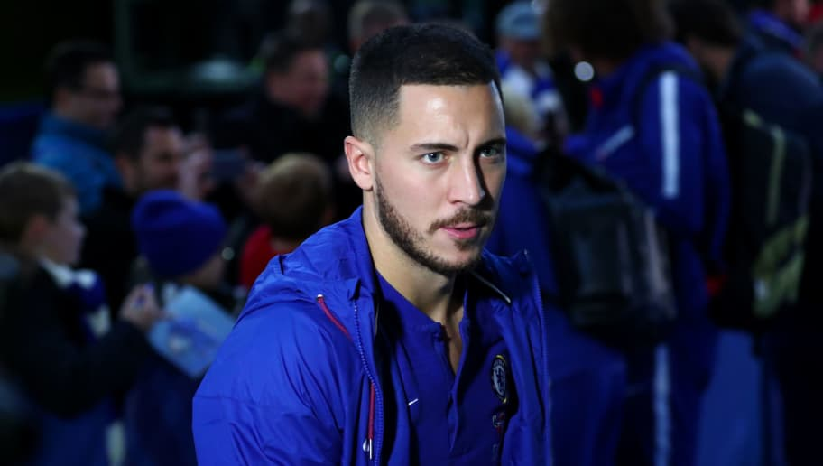 LONDON, ENGLAND - DECEMBER 08: Eden Hazard of Chelsea arrives at the stadium prior to the Premier League match between Chelsea FC and Manchester City at Stamford Bridge on December 8, 2018 in London, United Kingdom.  (Photo by Clive Rose/Getty Images)