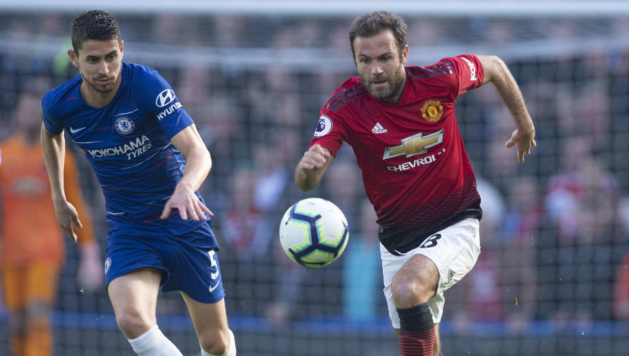 LONDON, ENGLAND - OCTOBER 20: Jorginho of Chelsea and Juan Mata of Manchester United during the Premier League match between Chelsea FC and Manchester United at Stamford Bridge on October 20, 2018 in London, United Kingdom. (Photo by Visionhaus/Getty Images)