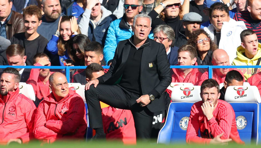 LONDON, ENGLAND - OCTOBER 20: Jose Mourinho, Manager of Manchester United reacts during the Premier League match between Chelsea FC and Manchester United at Stamford Bridge on October 20, 2018 in London, United Kingdom.  (Photo by Catherine Ivill/Getty Images)