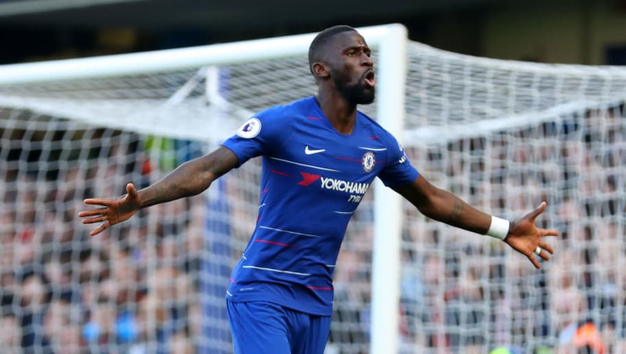 LONDON, ENGLAND - OCTOBER 20: Antonio Ruediger of Chelsea celebrates after scoring his team's first goal during the Premier League match between Chelsea FC and Manchester United at Stamford Bridge on October 20, 2018 in London, United Kingdom.  (Photo by Catherine Ivill/Getty Images)