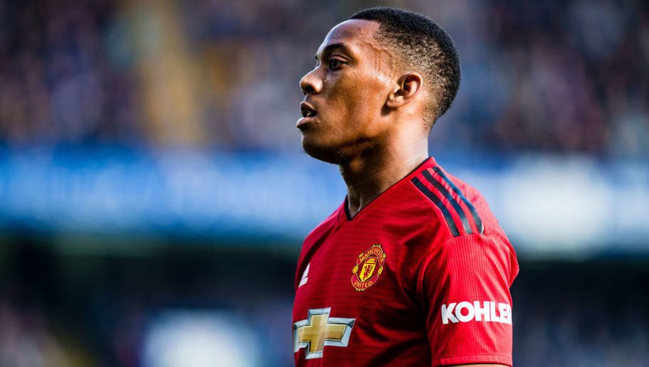 LONDON, ENGLAND - OCTOBER 20: Anthony Martial of Manchester United looks on during the Premier League match between Chelsea FC and Manchester United at Stamford Bridge on October 20, 2018 in London, United Kingdom. (Photo by Sebastian Frej/MB Media/Getty Images)