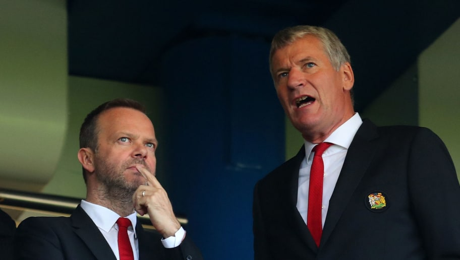 LONDON, ENGLAND - OCTOBER 20: Ed Woodward, executive vice-chairman of Manchester United with David Gill before the Premier League match between Chelsea FC and Manchester United at Stamford Bridge on October 20, 2018 in London, United Kingdom. (Photo by Catherine Ivill/Getty Images)