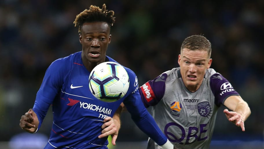 PERTH, AUSTRALIA - JULY 23:  Tammy Abraham of Chelsea and Shane Lowry of the Glory contest fot the ball during the international friendly between Chelsea FC and Perth Glory at Optus Stadium on July 23, 2018 in Perth, Australia.  (Photo by Paul Kane/Getty Images)
