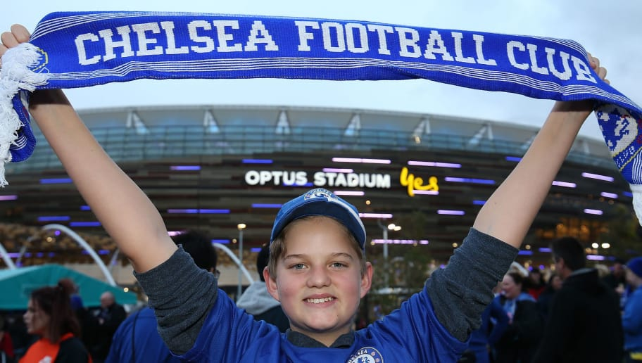PERTH, AUSTRALIA - JULY 23: A young fan shows his support before the international friendly between Chelsea FC and Perth Glory at Optus Stadium on July 23, 2018 in Perth, Australia.  (Photo by Paul Kane/Getty Images)