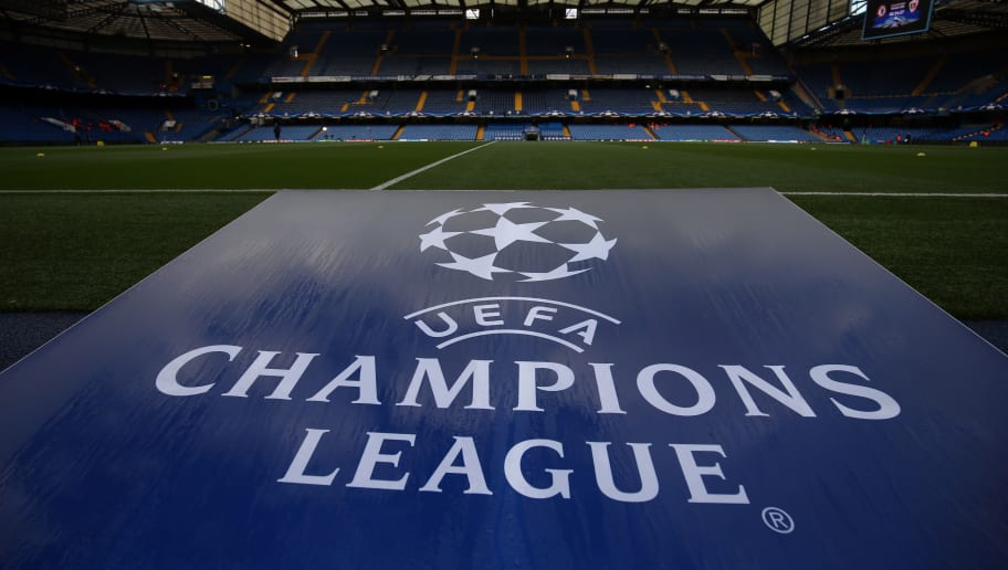 LONDON, ENGLAND - SEPTEMBER 12: General view of the UEFA Champions League logo during the UEFA Champions League group C match between Chelsea FC and Qarabag FK at Stamford Bridge on September 12, 2017 in London, United Kingdom. (Photo by Catherine Ivill - AMA/Getty Images)