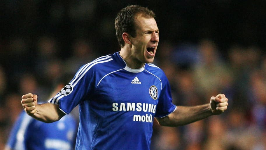 Chelsea's Arjen Robben celebrates scorin...