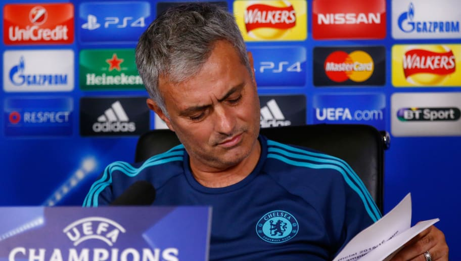 COBHAM, ENGLAND - DECEMBER 08:  Jose Mourinho  the manager of Chelsea speaks to the media during a press conference at the Chelsea Training Ground on December 8, 2015 in Cobham, England.  (Photo by Clive Rose/Getty Images)