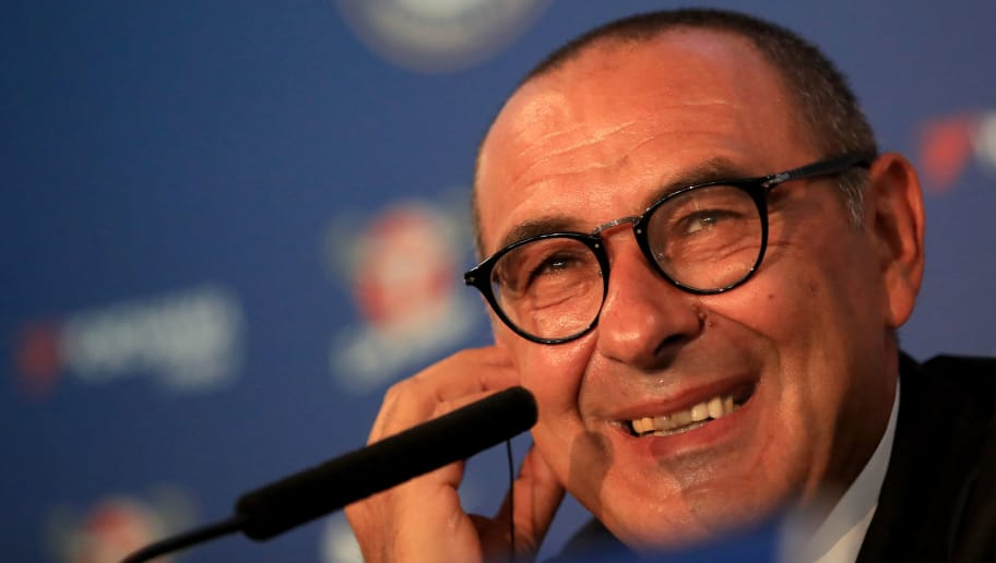 LONDON, ENGLAND - JULY 18: Chelsea Unveil New Head Coach Maurizio Sarri at Stamford Bridge on July 18, 2018 in London, England. (Photo by Marc Atkins/Getty Images)