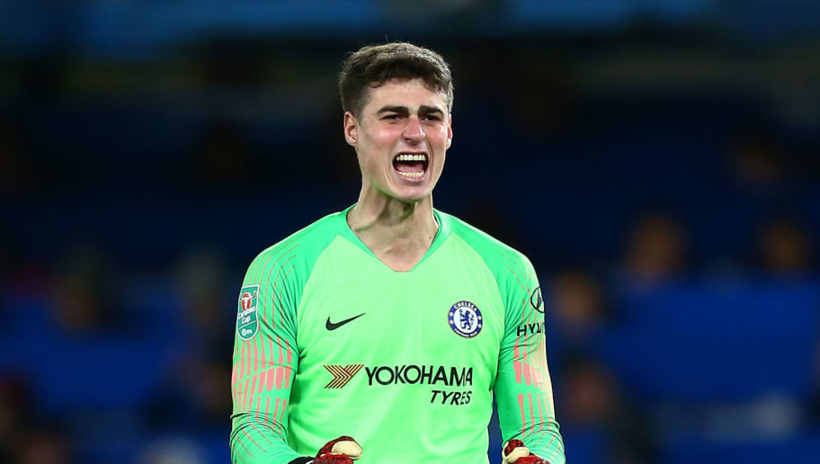 LONDON, ENGLAND - DECEMBER 19:  Kepa Arrizabalaga of Chelsea celebrates his team's first goal during the Carabao Cup Quarter Final match between Chelsea and AFC Bournemouth at Stamford Bridge on December 19, 2018 in London, United Kingdom.  (Photo by Jordan Mansfield/Getty Images)