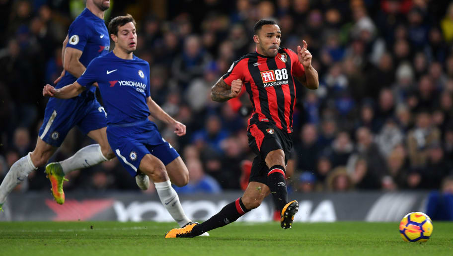 LONDON, ENGLAND - JANUARY 31:  Callum Wilson of AFC Bournemouth scores his sides first goal during the Premier League match between Chelsea and AFC Bournemouth at Stamford Bridge on January 31, 2018 in London, England.  (Photo by Shaun Botterill/Getty Images)