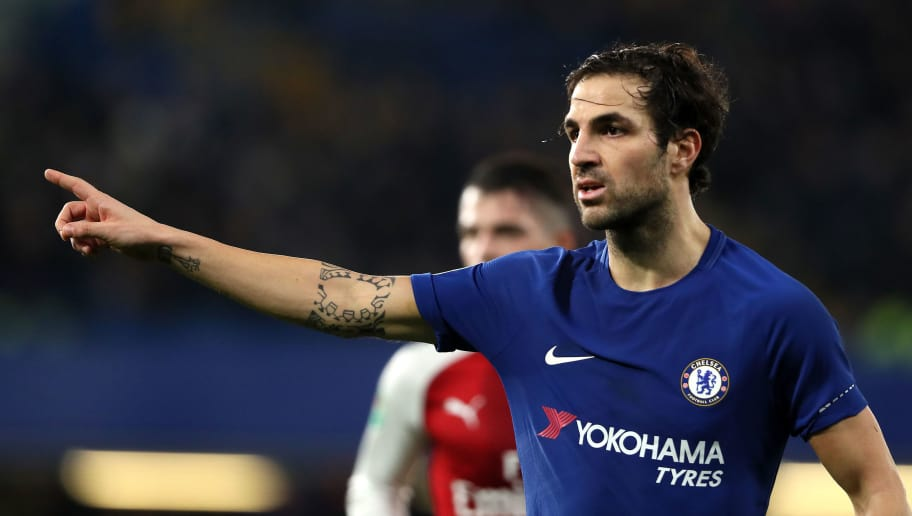 LONDON, ENGLAND - JANUARY 10:  Cesc Fabregas of Chelsea looks on during the Carabao Cup Semi-Final first leg match between Chelsea and Arsenal at Stamford Bridge on January 10, 2018 in London, England.  (Photo by Matthew Ashton - AMA/Getty Images)