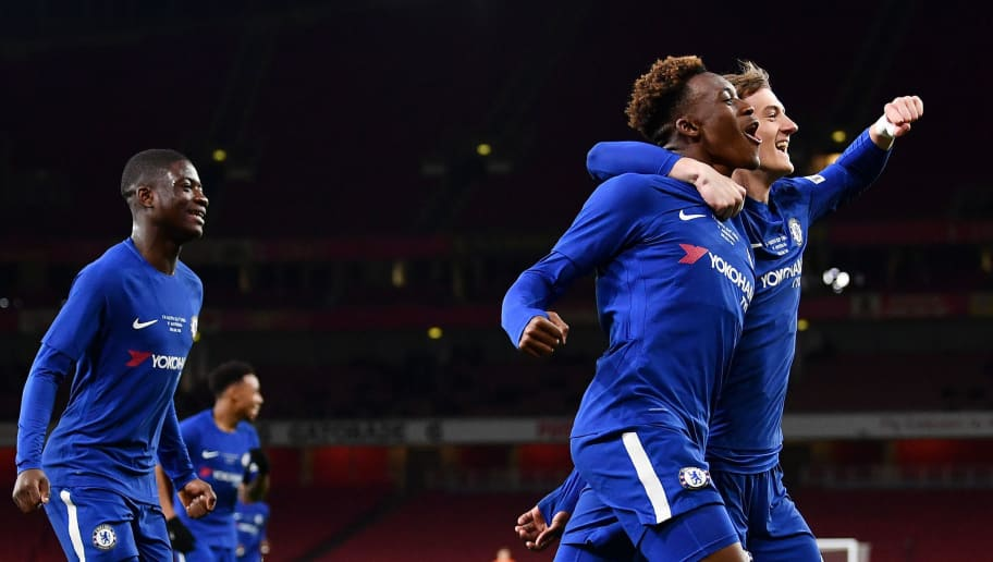 LONDON, ENGLAND - APRIL 30:  Callum Hudson-Odoi of Chelsea celebrates his second goal, Chelsea's fourth, with team mates during the FA Youth Cup Final second leg between Chelsea and Arsenal at Emirates Stadium on April 30, 2018 in London, England.  (Photo by Justin Setterfield/Getty Images)