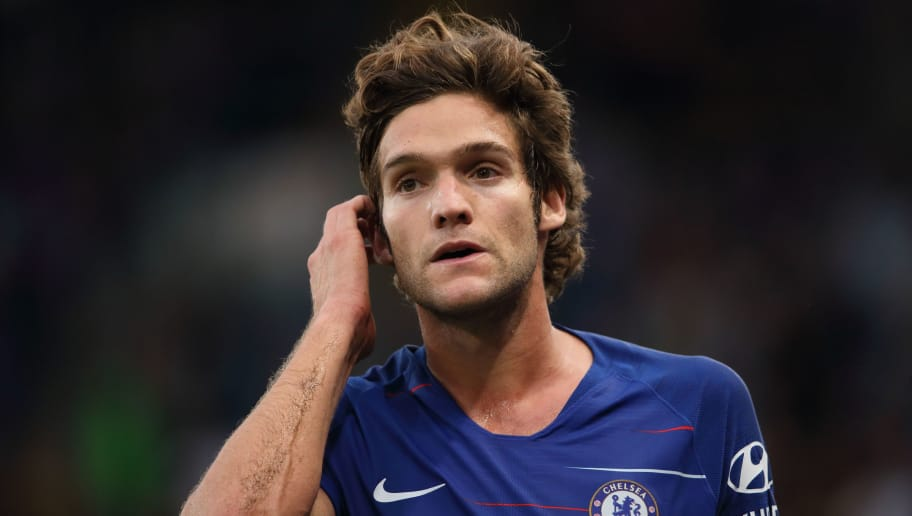 LONDON, ENGLAND - AUGUST 18:  Marcos Alonso of Chelsea during the Premier League match between Chelsea FC and Arsenal FC at Stamford Bridge on August 18, 2018 in London, United Kingdom. (Photo by Matthew Ashton - AMA/Getty Images)