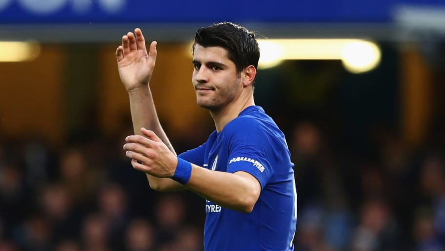 LONDON, ENGLAND - DECEMBER 26:  Alvaro Morata of Chelsea reacts during the Premier League match between Chelsea and Brighton and Hove Albion at Stamford Bridge on December 26, 2017 in London, England.  (Photo by Clive Rose/Getty Images)