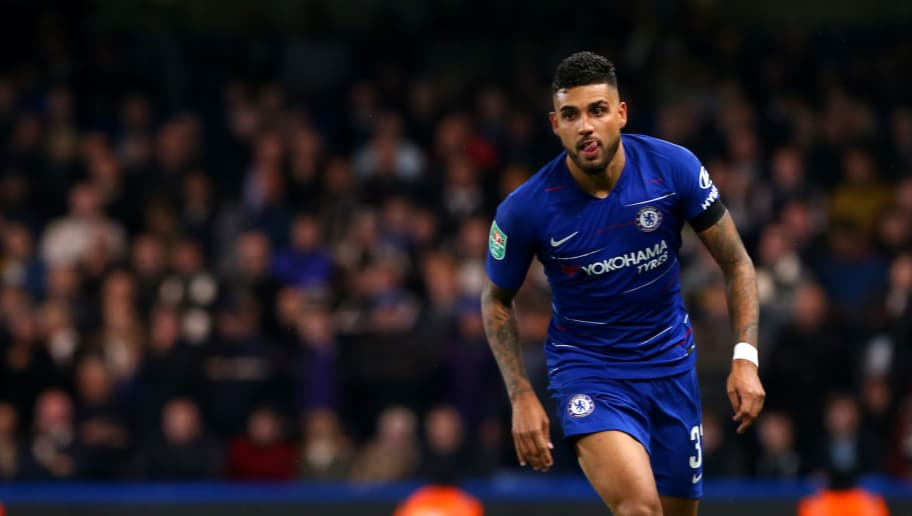 LONDON, ENGLAND - OCTOBER 31: Emerson Palmieri of Chelsea FC during the Carabao Cup Fourth Round match between Chelsea and Derby County at Stamford Bridge on October 31, 2018 in London, England. (Photo by Chloe Knott - Danehouse/Getty Images)