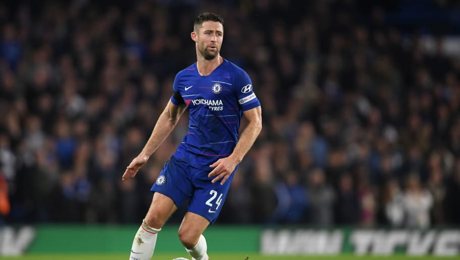 LONDON, ENGLAND - OCTOBER 31: Gary Cahill of Chelsea in action during the Carabao Cup Fourth Round match between Chelsea and Derby County at Stamford Bridge on October 31, 2018 in London, England. (Photo by Mike Hewitt/Getty Images)
