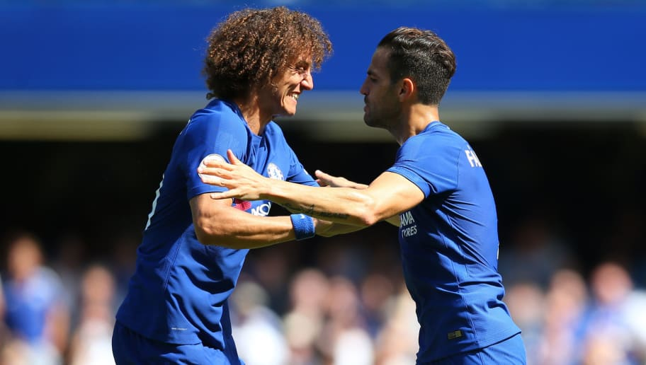 LONDON, ENGLAND - AUGUST 27: David Luiz of Chelsea celebrates with Cesc Fabregas of Chelsea during the Premier League match between Chelsea and Everton at Stamford Bridge on August 27, 2017 in London, England. (Photo by Catherine Ivill - AMA/Getty Images)