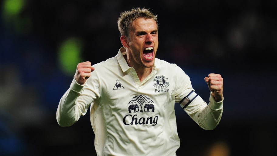 LONDON, ENGLAND - DECEMBER 04:  Phil Neville of Everton celebrates as Jermaine Beckford scores their first goal during the Barclays Premier League match between Chelsea and Everton at Stamford Bridge on December 4, 2010 in London, England.  (Photo by Shaun Botterill/Getty Images)
