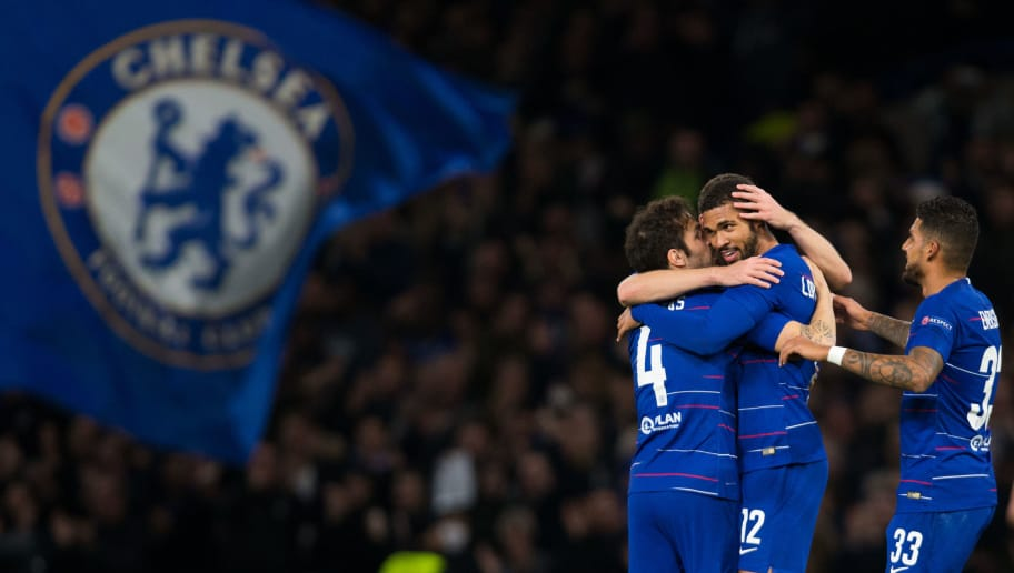 LONDON, ENGLAND - OCTOBER 25:  Ruben Loftus-Cheek of Chelsea celebrates scoring his side's third goal with team mates during the UEFA Europa League Group L match between Chelsea and FC BATE Borisov at Stamford Bridge on October 25, 2018 in London, United Kingdom. (Photo by Craig Mercer/MB Media/Getty Images)