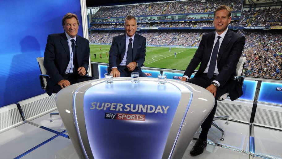 LONDON - AUGUST 18:  In this handout image supplied by Sky Sports, (L-R) Glenn Hoddle, Graeme Souness and Ed Chamberlain present the Sky Sports Super Sunday TV coverage during the Barclays Premier League match between Chelsea and Hull City at Stamford Bridge on August 18, 2013 in London, England. (Photo by Ben Radford - Sky Sports/Getty Images)