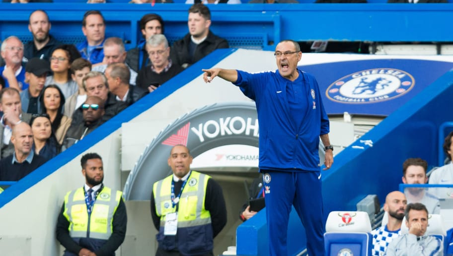 LONDON, ENGLAND - SEPTEMBER 29: Chelsea manager Maurizio Sarri during the Premier League match between Chelsea FC and Liverpool FC at Stamford Bridge on September 29, 2018 in London, United Kingdom. (Photo by Craig Mercer/MB Media/Getty Images)