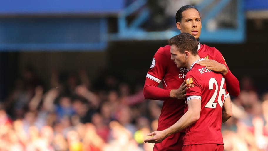 LONDON, ENGLAND - MAY 06: Virgil van Dijk of Liverpool and Andrew Robertson of Liverpool during the Premier League match between Chelsea and Liverpool at Stamford Bridge on May 6, 2018 in London, England. (Photo by James Williamson - AMA/Getty Images)