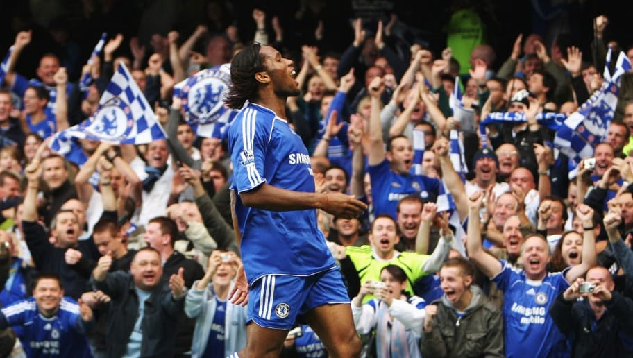 LONDON - OCTOBER 27:  Didier Drogba of Chelsea celebrates scoring his sides second goal during the Barclays Premier League match between Chelsea and Manchester City at Stamford Bridge on October 27, 2007 in London, England.  (Photo by Phil Cole/Getty Images)