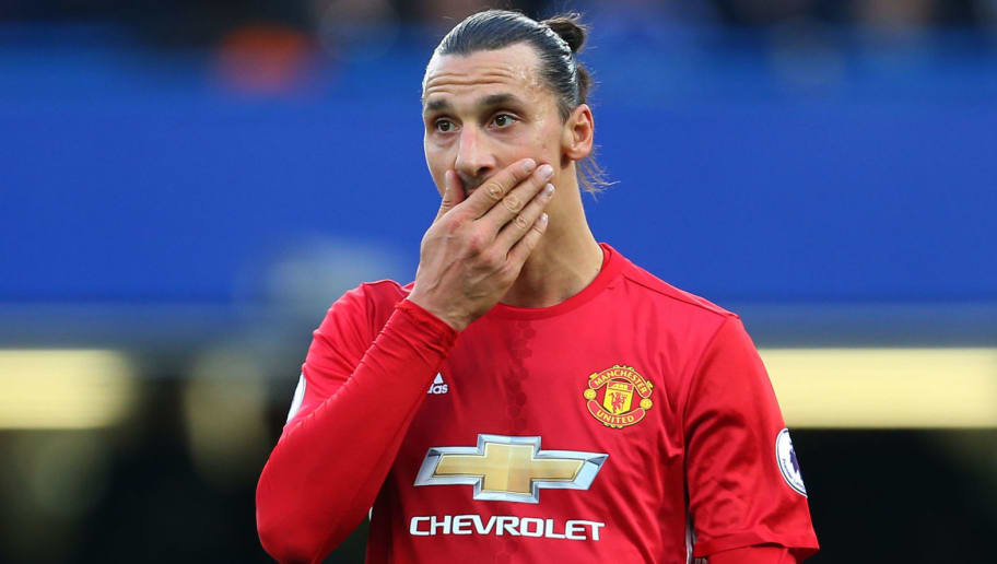 LONDON, ENGLAND - OCTOBER 23: A dejected looking Zlatan Ibrahimovic of Manchester United during the Premier League match between Chelsea and Manchester United at Stamford Bridge on October 23, 2016 in London, England. (Photo by Catherine Ivill - AMA/Getty Images)