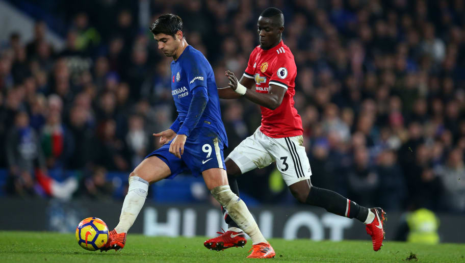LONDON, ENGLAND - NOVEMBER 05: Alvaro Morata of Chelsea and Eric Bailly of Manchester United during the Premier League match between Chelsea and Manchester United at Stamford Bridge on November 5, 2017 in London, England. (Photo by Catherine Ivill - AMA/Getty Images)