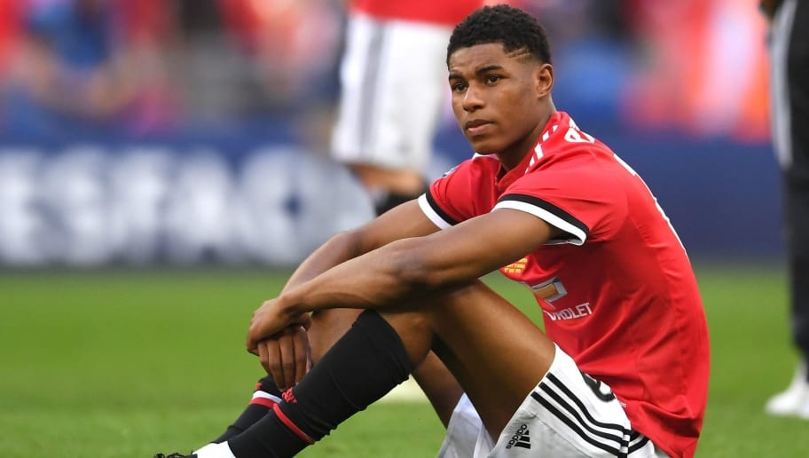 LONDON, ENGLAND - MAY 19:  Marcus Rashford of Manchester United looks dejected following the The Emirates FA Cup Final between Chelsea and Manchester United at Wembley Stadium on May 19, 2018 in London, England.  (Photo by Laurence Griffiths/Getty Images)