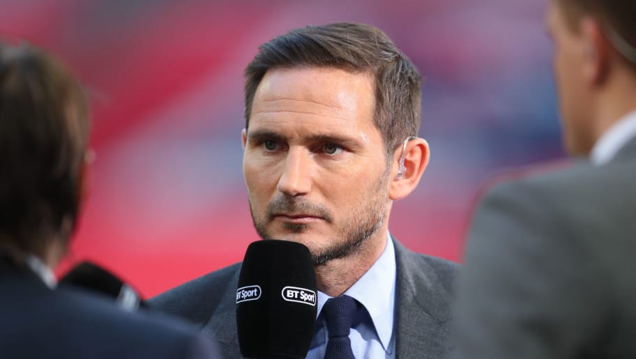 LONDON, ENGLAND - MAY 19: Frank Lampard reporttd for BT Sport during The Emirates FA Cup Final between Chelsea and Manchester United at Wembley Stadium on May 19, 2018 in London, England. (Photo by Catherine Ivill/Getty Images)