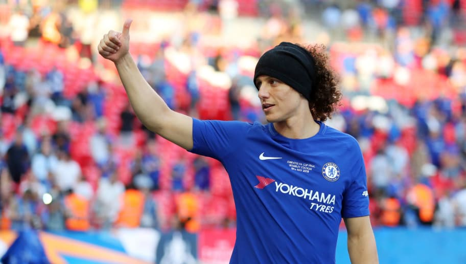 LONDON, ENGLAND - MAY 19: David Luiz of Chelsea gives the thumbs up after The Emirates FA Cup Final between Chelsea and Manchester United at Wembley Stadium on May 19, 2018 in London, England. (Photo by Catherine Ivill/Getty Images)