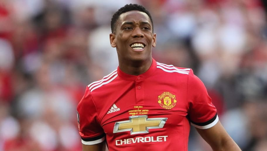 LONDON, ENGLAND - MAY 19: Anthony Martial of Manchester Untied during the FA Cup Final between Chelsea and Manchester United at Wembley Stadium on May 19, 2018 in London, England. (Photo by Matthew Ashton - AMA/Getty Images)