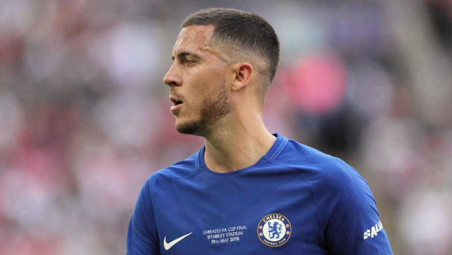 LONDON, ENGLAND - MAY 19: Eden Hazard of Chelsea during the FA Cup Final between Chelsea and Manchester United at Wembley Stadium on May 19, 2018 in London, England. (Photo by Matthew Ashton - AMA/Getty Images)