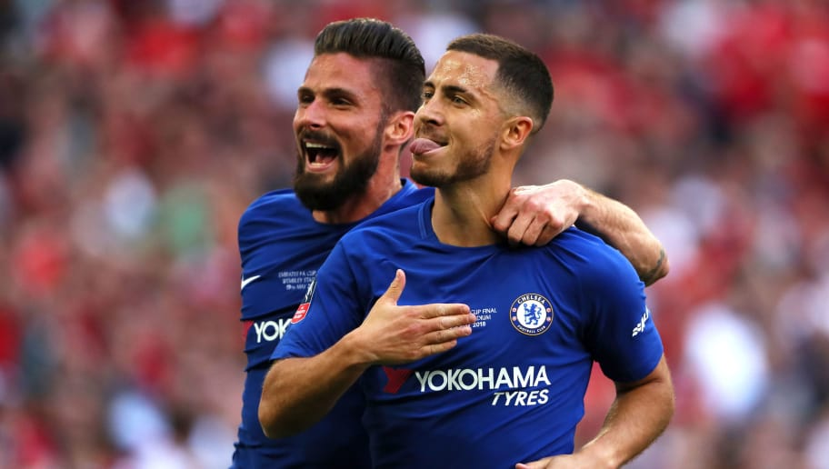 LONDON, ENGLAND - MAY 19:  Eden Hazard of Chelsea celebrates scoring a goal to make the score 1-0  with Olivier Giroud (L) during the Emirates FA Cup Final between Chelsea and Manchester United at Wembley Stadium on May 19, 2018 in London, England. (Photo by Matthew Ashton - AMA/Getty Images)