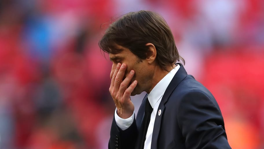 LONDON, ENGLAND - MAY 19:  Chelsea Head Coach / Manager Antonio Conte reacts at the end of the Emirates FA Cup Final between Chelsea and Manchester United at Wembley Stadium on May 19, 2018 in London, England. (Photo by Robbie Jay Barratt - AMA/Getty Images)