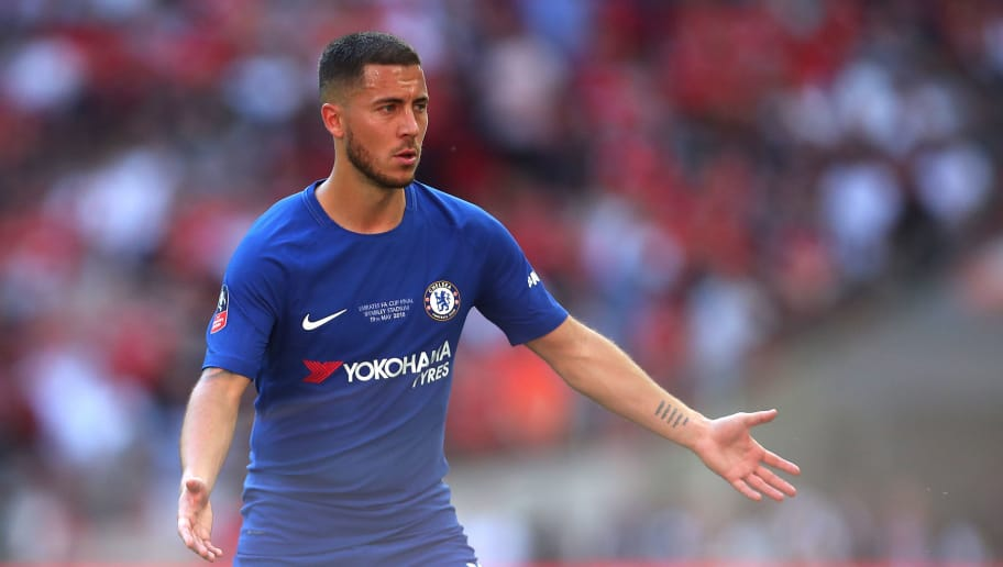 LONDON, ENGLAND - MAY 19:  Eden Hazard of Chelsea reacts during the Emirates FA Cup Final between Chelsea and Manchester United at Wembley Stadium on May 19, 2018 in London, England. (Photo by Robbie Jay Barratt - AMA/Getty Images)
