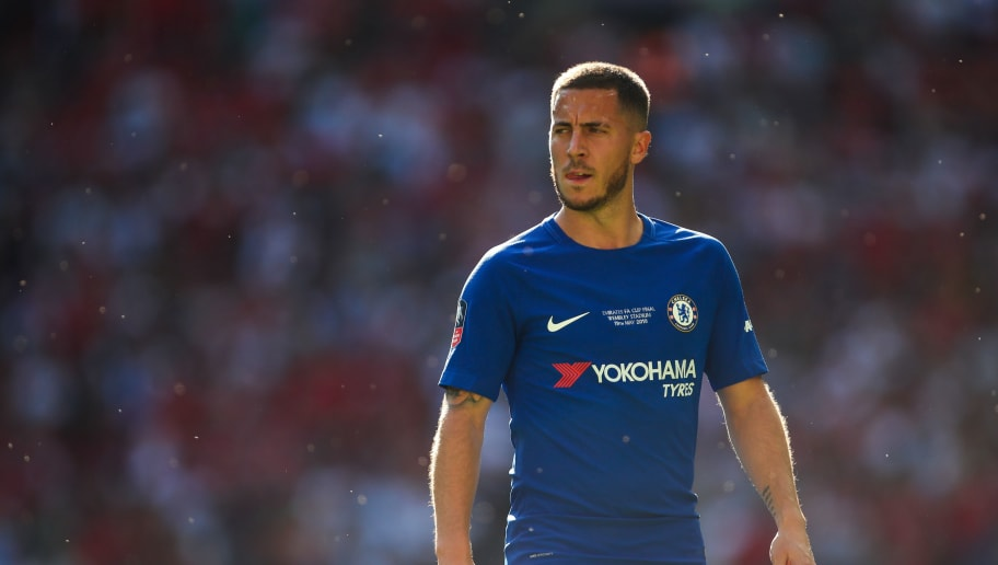 LONDON, ENGLAND - MAY 19: Eden Hazard of Chelsea during The Emirates FA Cup Final between Chelsea and Manchester United at Wembley Stadium on May 19, 2018 in London, England. (Photo by Robbie Jay Barratt - AMA/Getty Images)