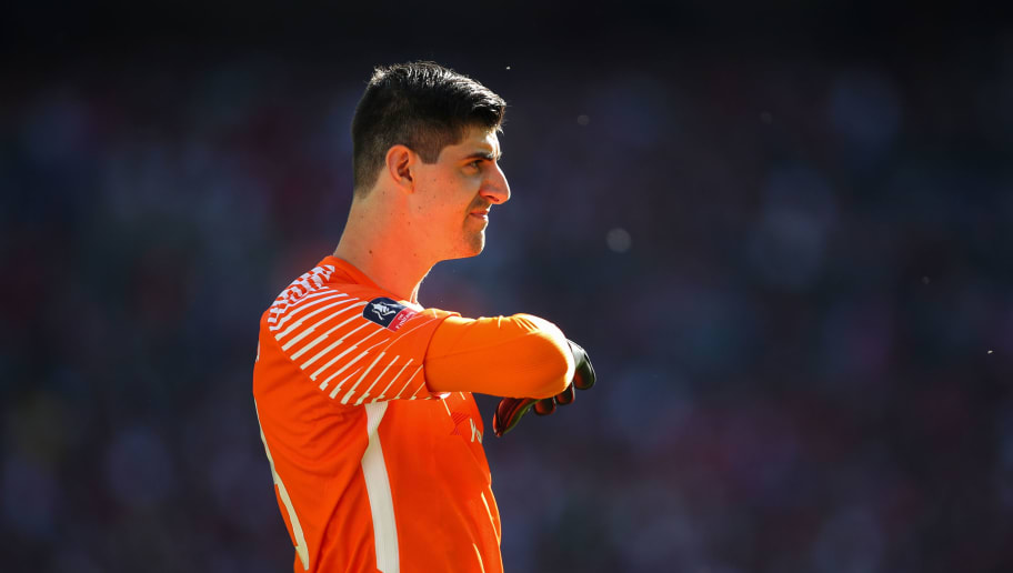LONDON, ENGLAND - MAY 19: Thibaut Courtois of Chelsea during The Emirates FA Cup Final between Chelsea and Manchester United at Wembley Stadium on May 19, 2018 in London, England. (Photo by Robbie Jay Barratt - AMA/Getty Images)