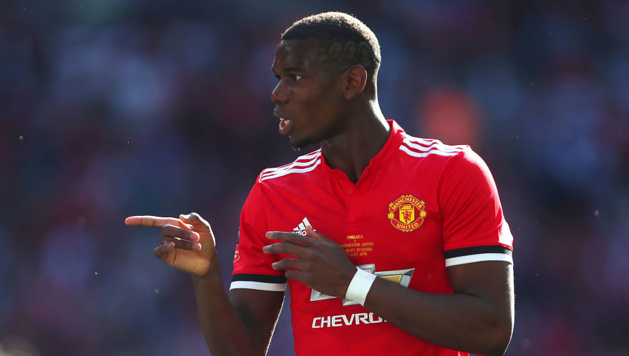 LONDON, ENGLAND - MAY 19:  Paul Pogba of Manchester United gestures during the Emirates FA Cup Final between Chelsea and Manchester United at Wembley Stadium on May 19, 2018 in London, England. (Photo by Robbie Jay Barratt - AMA/Getty Images)