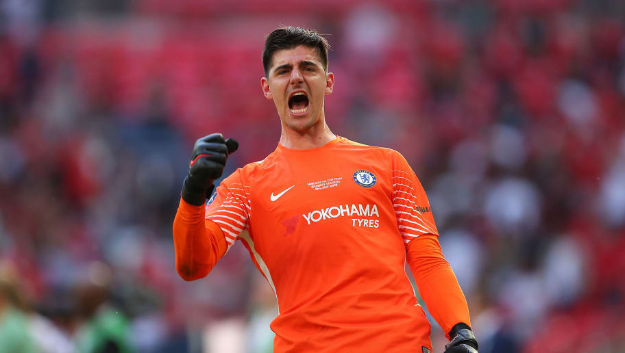 LONDON, ENGLAND - MAY 19:  Thibaut Courtois of Chelsea celebrates at the end of the Emirates FA Cup Final between Chelsea and Manchester United at Wembley Stadium on May 19, 2018 in London, England. (Photo by Robbie Jay Barratt - AMA/Getty Images)