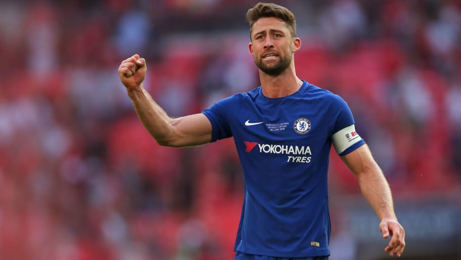 LONDON, ENGLAND - MAY 19: Gary Cahill of Chelsea celebrates at full time during The Emirates FA Cup Final between Chelsea and Manchester United at Wembley Stadium on May 19, 2018 in London, England. (Photo by Robbie Jay Barratt - AMA/Getty Images)