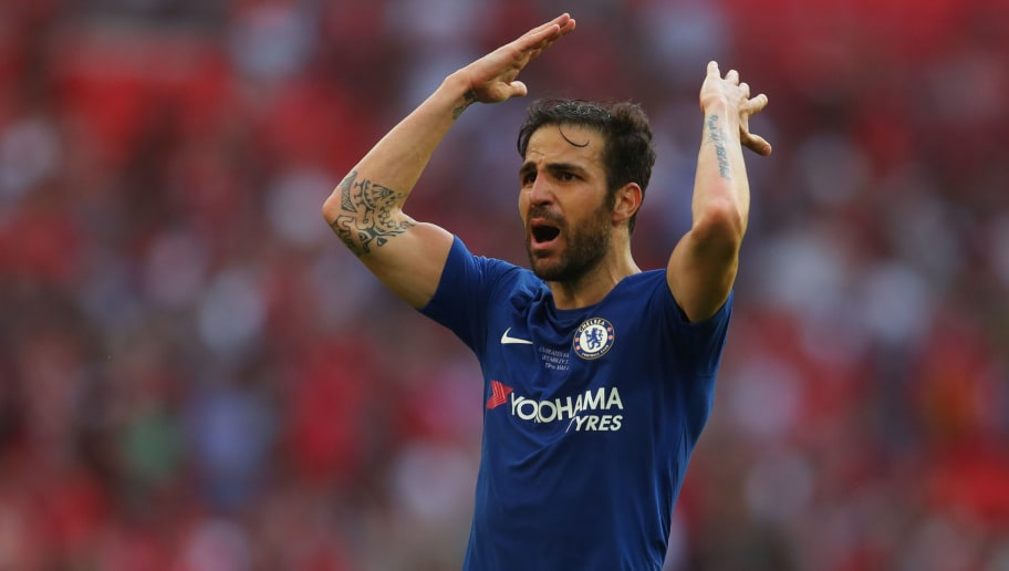 LONDON, ENGLAND - MAY 19: Cesc Fabregas of Chelsea during The Emirates FA Cup Final between Chelsea and Manchester United at Wembley Stadium on May 19, 2018 in London, England. (Photo by Catherine Ivill/Getty Images)