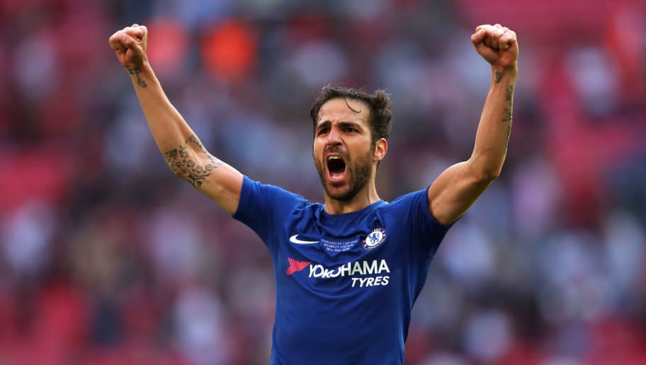 LONDON, ENGLAND - MAY 19:  Cess Fabregas of Chelsea celebrates at the end of the Emirates FA Cup Final between Chelsea and Manchester United at Wembley Stadium on May 19, 2018 in London, England. (Photo by Robbie Jay Barratt - AMA/Getty Images)