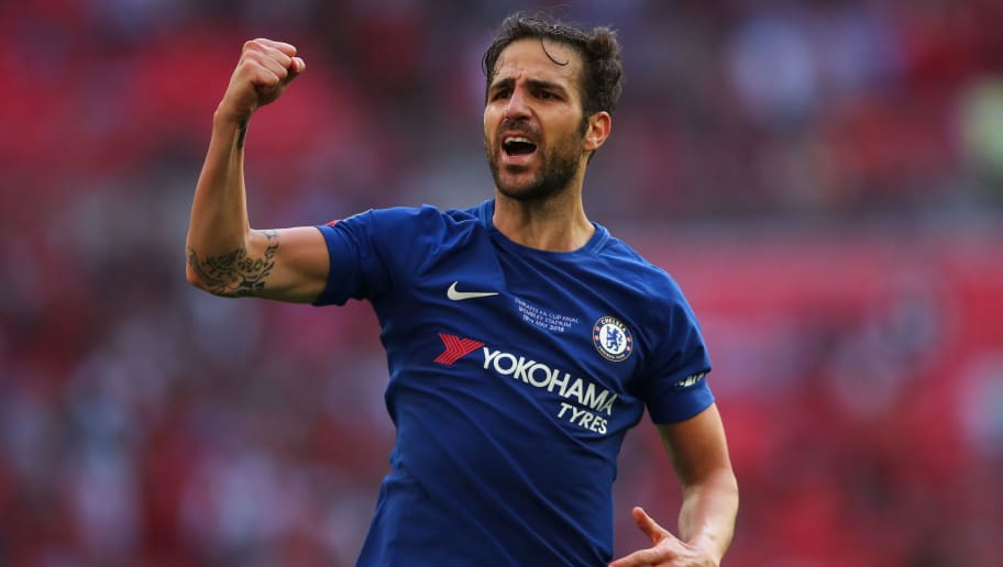 LONDON, ENGLAND - MAY 19: Cesc Fabregas of Chelsea celebrates at full time during The Emirates FA Cup Final between Chelsea and Manchester United at Wembley Stadium on May 19, 2018 in London, England. (Photo by Robbie Jay Barratt - AMA/Getty Images)