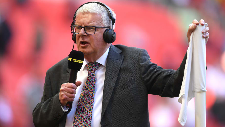 LONDON, ENGLAND - MAY 19:  John Motson speaks on BBC Sport prior to The Emirates FA Cup Final between Chelsea and Manchester United at Wembley Stadium on May 19, 2018 in London, England.  (Photo by Laurence Griffiths/Getty Images)
