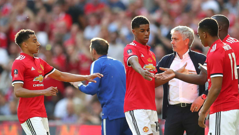 LONDON, ENGLAND - MAY 19:  Marcus Rashford of Manchester United and Jesse Lingard of Manchester United are substituted off, as Anthony Martial of Manchester United and Romelu Lukaku of Manchester United come on during The Emirates FA Cup Final between Chelsea and Manchester United at Wembley Stadium on May 19, 2018 in London, England.  (Photo by Catherine Ivill/Getty Images)